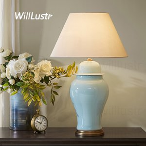 colorful glazed ceramic table lamp Ice cracked porcelain jar copper base fabric shade table light study bedside living room lamp