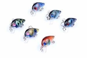 6pcs da cor a série Plastic Bionic rígido Bait Crankbait três centímetros, 1.5G Mini iscas de superfície peixes pesca Lure Falso com gancho 1606699