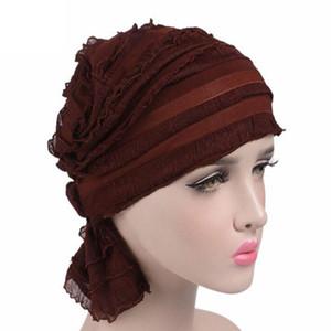 Femmes Ruffle Hat Chemise Bonnet Echarpe Turban Headwear pour CancerPatients