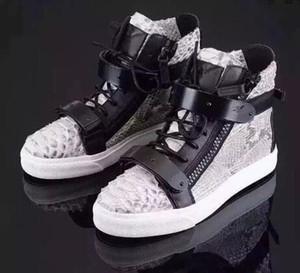 2017 homens da moda sapatos de metal lantejoulas sneakers lace up impressão couro loafer grosso calcanhar alta top sneakers pele de cobra loafer festa sapatos masculinos