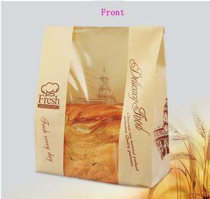 21 * 9 * 33cm 종이 스낵 빵 가방 클리어 창 크래프트 토스트 가방 식품 포장 빵 파티 용품을위한 베이킹 종이 봉투
