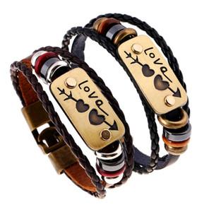 Korean Love une flèche piercing à travers deux coeurs Couples Baiding Véritable Bracelet En Cuir Bijoux Valentine Cadeau pour Femmes Prix De Gros