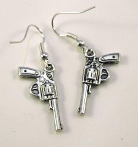 Mixed Style Pistol Gun Revolver Bullet Drop Dangle Earrings 925 Silver Fish Ear Hook 50pairs Tibetan Silver Chandelier Earring Jewelry Gift