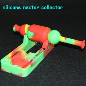 Großhandel Silikon Nectar Collector Kits mit 10mm Gelenk Ti Nagel Nectar Collector Ölplattformen Glas Bongs Silikon Wasser Pipe Bubbler Bong