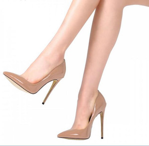 얇은 입으로 2017 새로운 슈퍼 하이힐 OL 단일 신발 섹시한 12cm 벌거 벗은 색 연회 여성 신발