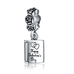 En gros 20pcs / lot Mode Tibet en argent plaqué Book Design alliage métal Dangle DIY Charms fit européen Bracelet Collier Bas Prix