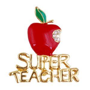 Wholesale- 1 pz nuovo delicato mela rossa super insegnante regalo unisex con spilla di cristallo pin mostra il tuo amore regalo unico