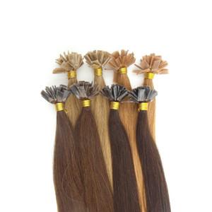 Prix de gros 1g / s 100pcs / set Fusion Hot Flat Tip Indien Remy Extensions Pré-Collé Kératine Cheveux Humains