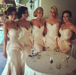 Taffeta Mermaid bridesmaid dress Sweetheart With peplum slim sweep train floor-length party evening gown wedding guest dresses