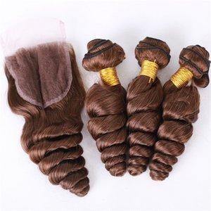 En Kaliteli Koyu Kahverengi Dantel Kapatma Gevşek Dalga Saç Demetleri Ile Perulu Gevşek Kıvırcık İnsan Saç Atkı 4x4 Dantel Kapatma Ile