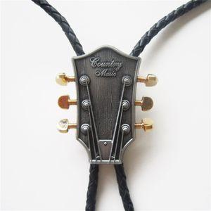 New Vintage Western Krawatte Clips Bolo Tie für Männer Original Western Country Musik Gitarre Bolo Tie Hochzeit Leder Halskette