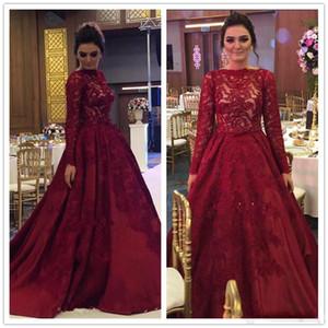 2017 burgundy bal robes dentelle arabe arabe musulmane robes de soirée manches longues une ligne satin Vestidos de festa