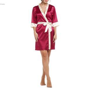 Wholesale- Women's Kimono Robe Knee Length Bathrobe Sexy Lingerie Sleepwear Short Women Silk Robe Lace Nightwear Bridesmaids Robes