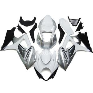 5 regali gratuiti Nuovi Kit carena motore ABS 100% adatto per SUZUKI GSXR1000 K7 2007-2008 GSXR 1000 K7 07-08 bello argento bianco Articolo no.220