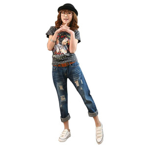Wholesale- New Arrival Korean Style Loose Rock Revival Women Hole Jeans Female Plus Size Jeans Female Ripped Jean Freeshipping