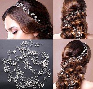 Элегантный свадебный волос Лоза-100 см очень долго пресной воды жемчуг ручной серебряный тон свадебный головной убор, аксессуары для волос свадьба волос