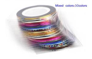 Comercio al por mayor 30 Unids 30 Multicolor Colores Mixtos Rollos Cinta de Franja Línea Nail Art Decoración Etiqueta DIY Nail Tips