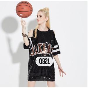 New Summer Women T-Shirt Hip Hop Shirt Sequins Casual Loose Sleeve T-shirt Long Design Tee Tops Black T Shirt Dress Club Dresses