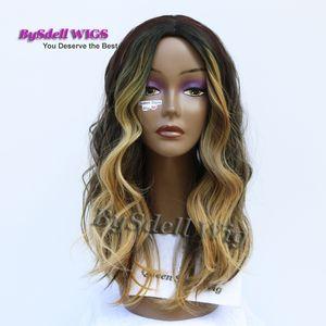 Peluca sintética de lujo con punta rubia Celebrity Ciara Highlight Peluca de color rubio Peluca de cuero cabelludo oscuro para mujer negra