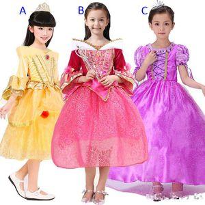 3 Stil Kız prenses elbise mor rapunzel elbise Uyku güzellik prenses aurora parlaması kollu parti doğum günü dantel elbiseler B001