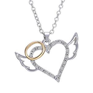 Fashion Angel Wings Amour Coeur Pendentif Collier Bijoux Chaîne De Mode Colliers Pendentifs Bijoux Pendentif Collier pour le Cadeau Des Femmes