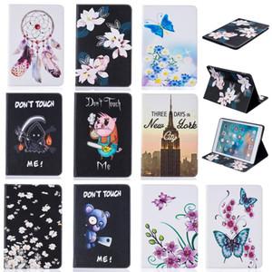 Tablet case Pour iPad Pro 9.7 pouce Couverture Portefeuille En Cuir Stand Avec Carte À Carte D'argent Poche Peinture Papillon Bleu Ours tour