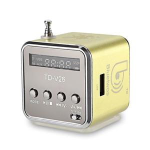 50-200 개 TDV26 미니 금속 스틸 활성 서브 우퍼 자동차 알루미늄 합금 스피커 TF 라디오 FM USB 붐 박스 caixa 드 솜 스피커 높은 품질