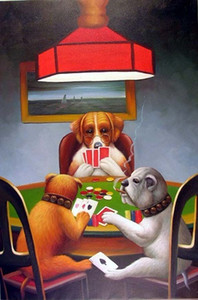 Cassius Dogs Playing Poker Friend In Need Repro Classic Lge,Genuine Handpainted Animal Pop Art oil Painting Museum Quality Multi sizes J048