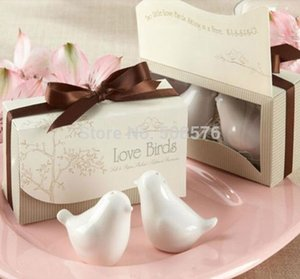 Al por mayor-Delicadas Aves de Cerámica de Amor en la Ventana Salt Pepper Shakers Wedding Favor Wedding Party Gift