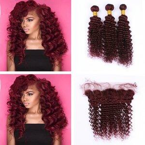 Deep Wave Wine Red 99j Cabello teje con Frontal de Encaje 4 Unids / lote 99J Ear to Ear frontal con Deep Curly Hair 3Bundles