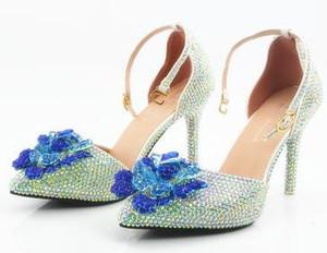 O novo apontou roxo monstro kyi AB broca sapatos manuais noiva sapatos de casamento branco de salto alto chinelos sandálias sapatos com diamantes