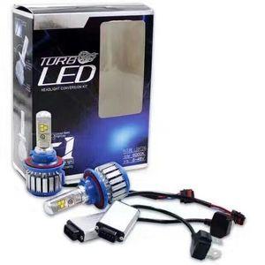 1 takım T1 7000LM Yükseltme COB HEADLAMP TURBO T1 LED FAR Düşük Düşük / Hi H4L / H13 / 9004/9007 6000 K 35 W Halojen xenon Farlar ampuller Değiştirin