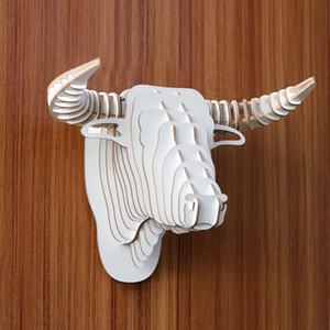 Yjbetter DIY 3D деревянный животных бык / корова Глава Ассамблеи Puzzle Art Model Kit игрушки Домашнее украшение, деревянные украшения стены вися белый цвет