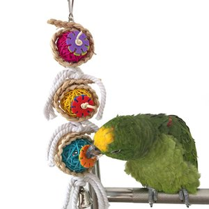 Pet Bird Parrot Parakeet Ball Cotton String Toy Cockatiel Conure Masticare morsi Gabbie Craft Birds Giocattoli con campana Novità 2017