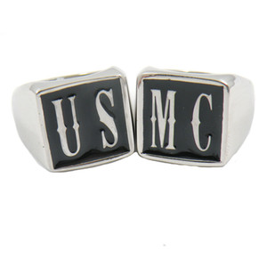 FANSSTEEL Custom made en acier inoxydable MENS WEMENS bijoux initiales alphabet US MC nom lettres bague ensemble personnalisé cadeau personnalisé