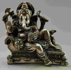 Colección Old Silver Plate Copper India Wealth God Recline Estatua 12x12 cm