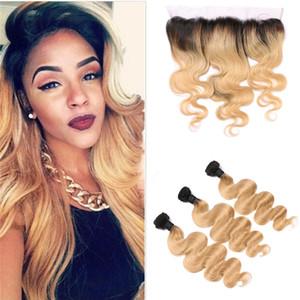 8А класс 1b 27 Honey Blonde Ombre Hair Weave с кружевом Фронтальная Pre щипковых Бразильский Human Virgin Объемная волна волос с кружевом Лобовой