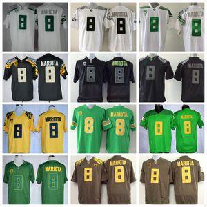 Дешевые NCAA # 8 Маркуса Мариот Джерси Колледж Oregon Ducks футбол Джерси Зеленый Черный Желтый Белый прошитой швейная рубашки