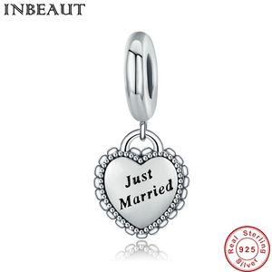 New Trendy Wedding Making Jewelry 925 Sterling Silver Apenas Casado Coração Charme fit Pandora Pulseira Feminino Presente de Aniversário