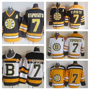 Vintage para hombre de Boston Bruins Hockey jerseys # 7 Phil Esposito 75 Aniversario Negro CCM vendimia Phil Esposito cosido jerseys Un parche S-XXXL