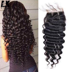 Seideverschluss 100% unverarbeitete brasilianische jungfräuliche haare tiefe welle 4x4 natürliches schwarzes haar menschliches haar billige brasilianische spitze schließung
