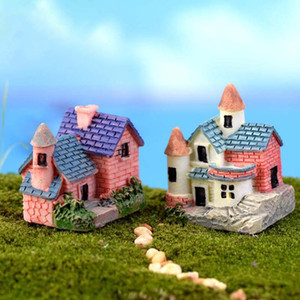 Wholesale- House Cottages Mini Craft Miniature Fairy Garden Home Decoration Houses Micro Landscaping Decor DIY Accessories