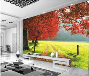 3D 자연 풍경 메이플 레드 메이플 벽화 3D 벽지 TV 벽지에 대한 3D 벽 서류