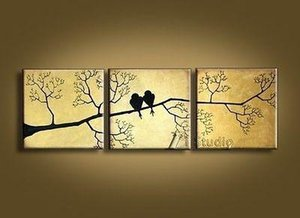 3 Panel Pure Handicraft Modern Abstract Art Oil Painting Birds,Home Wall Decor on High Quality Canvas size can be customized