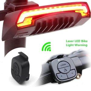 X5 스마트 후면 자전거 라이트 자전거 램프 레이저 LED USB 충전식 무선 원격 선회 컨트롤 사이클링 Bycicle led 빛