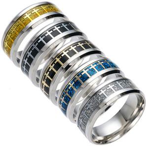 Mode einfache kreuz ring 8mm titanium stahl christlich katholisch religiöse ring großhandel männer ring persönlichkeit