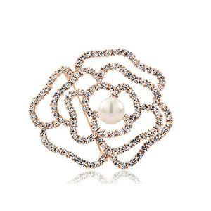 Mulheres Moda Oco Rose Flor Broches Cachecol Pinos De Luxo Diamante De Cristal Shell Broche de Pérolas Da Noiva Do Casamento Bouquet de Jóias Presente