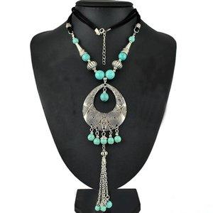 Collane lunghe del pendente della nappa lungo bordate turchese verde d'argento della Boemia dei monili delle donne di modo zingaro trasporto libero