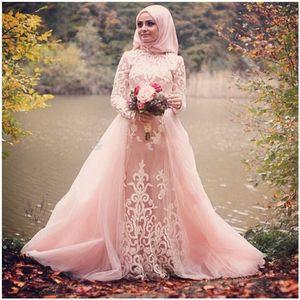 Nuovo arrivo 2017 Blush Pink Musulmano Abiti da sposa Collo alto Appliqued Tulle maniche lunghe Wedding Party Dress Vestidos