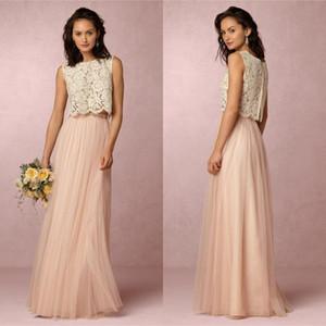 저렴한 2017 빈티지 블러쉬 핑크 두 조각 레이스 들러리 드레스 부드러운 얇은 층 길이의 이브닝 가운 웨딩 파티 파티 드레스